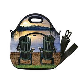 Insulated Lunch Bag,Neoprene Lunch Tote Bags,Seaside Decor,T