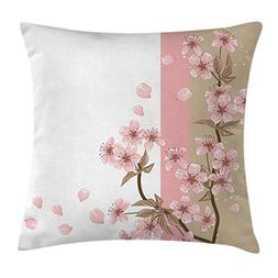 Ambesonne Japanese Throw Pillow Cushion Cover, Romantic Saku