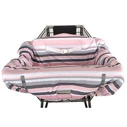 Balboa Baby Jersey Shopping Cart Cover - Grey & Pink Stripe