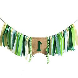 Jungle Theme Baby First Birthday Party Highchair Banner Boy