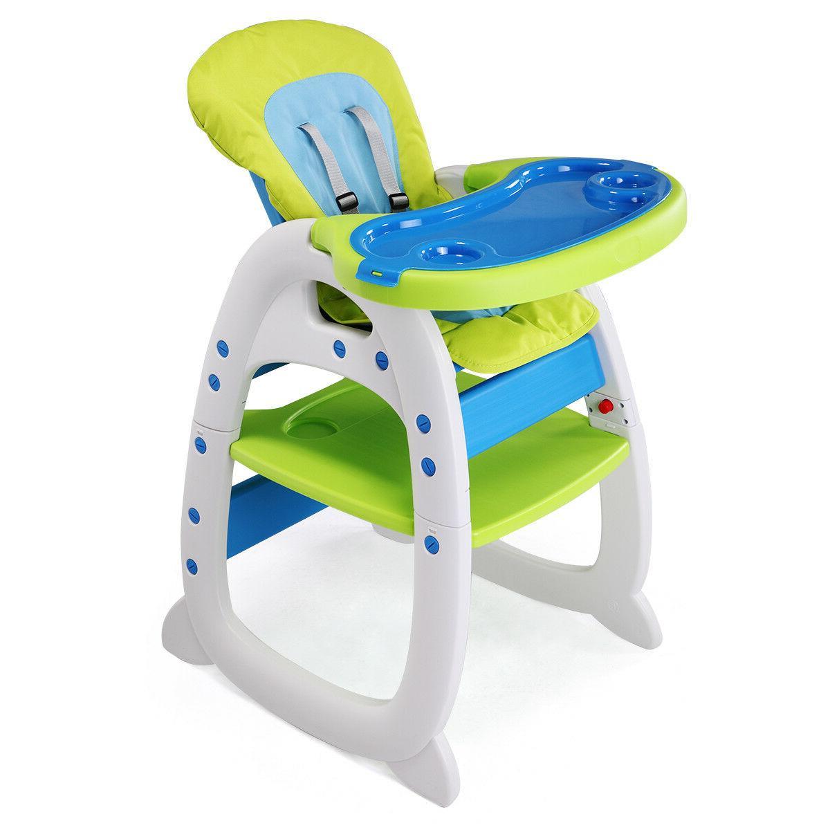 3 High Chair Play Booster Toddler Feeding Blue-green