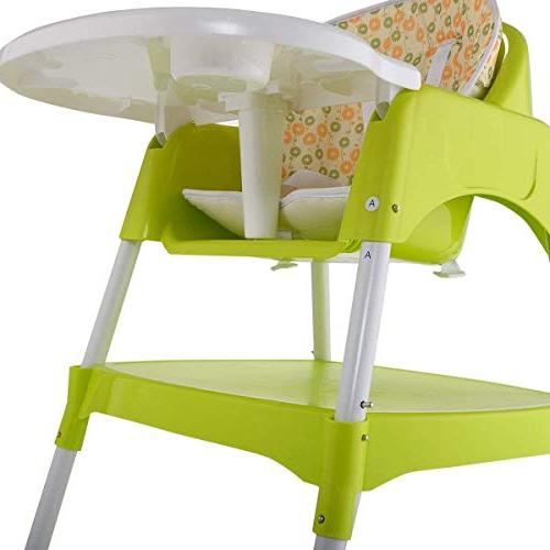 COSTWAY in 1 Baby Convertible Table Booster Feeding Highchair, Green