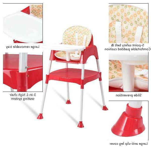 Costway 3 High Chair Convertible Seat Toddler Tray