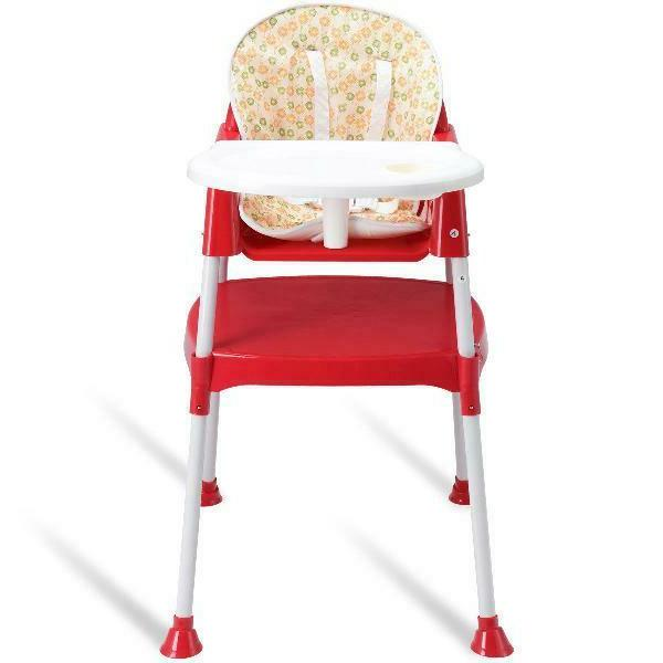 Costway 1 Baby High Chair Convertible Seat Tray