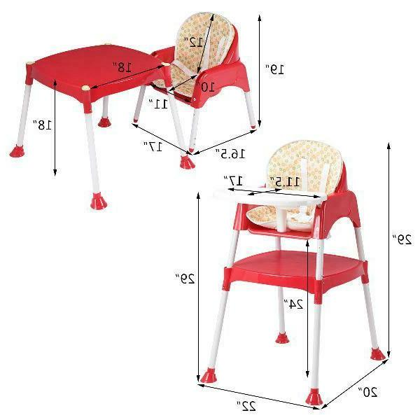 Costway 3 1 High Chair Convertible Table Seat Booster Play