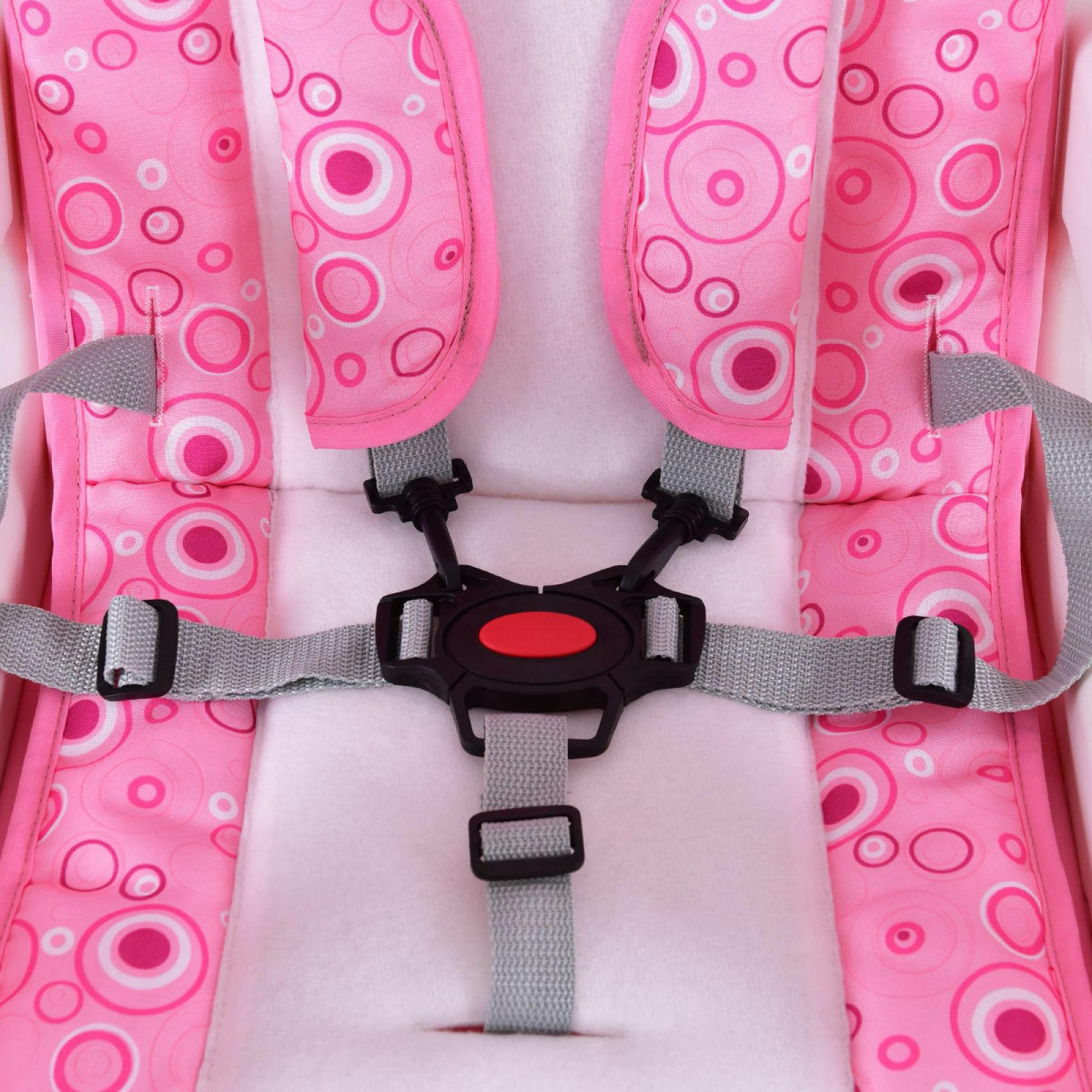 Costway 3 Baby High Chair Convertible Play Seat Toddler Pink