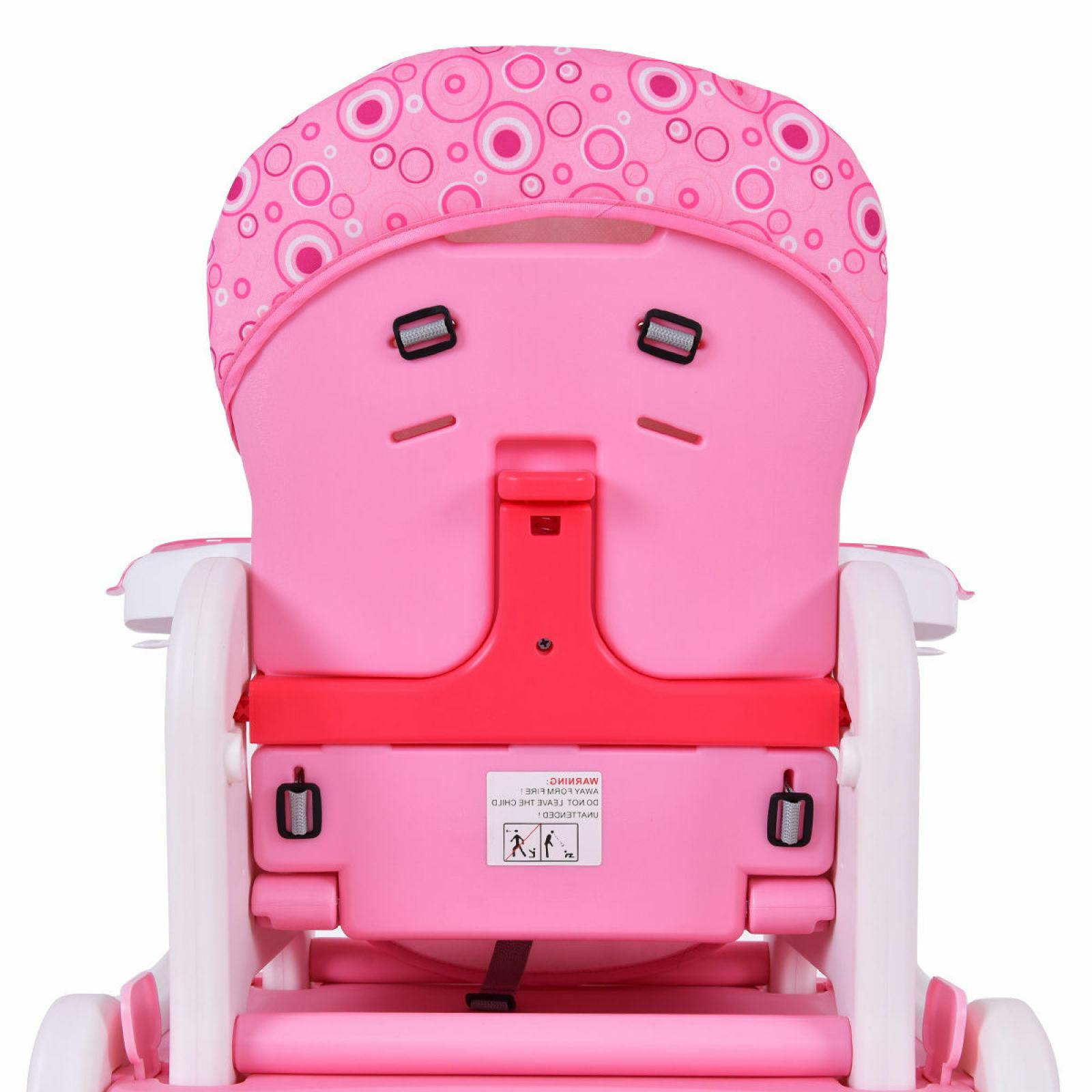 Costway 3 Baby High Chair Convertible Play Toddler Pink