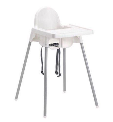 Ikea's ANTILOP Highchair with safety belt, white, silver col