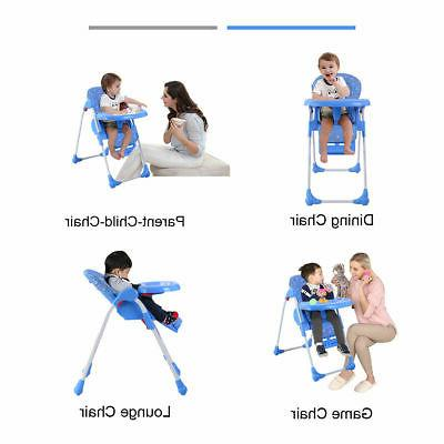 Adjustable High Chair Infant Feeding Seat Blue