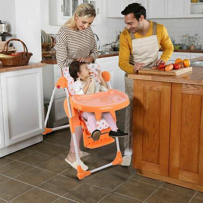 Adjustable High Infant Booster Seat Folding Orange