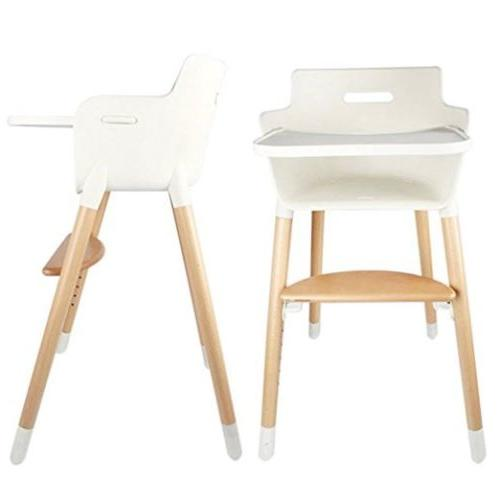 Baby Toddler Adjustable High Chair Baby Feeding Booster Wood