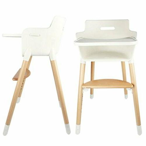 Adjustable Wooden High Chair Baby Highchairs with Tray for B