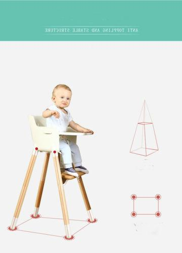 Adjustable Wooden High Baby Highchairs w/ Tray for