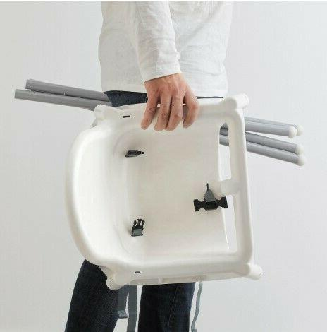 ANTILOP High chair with tray, color white, silver