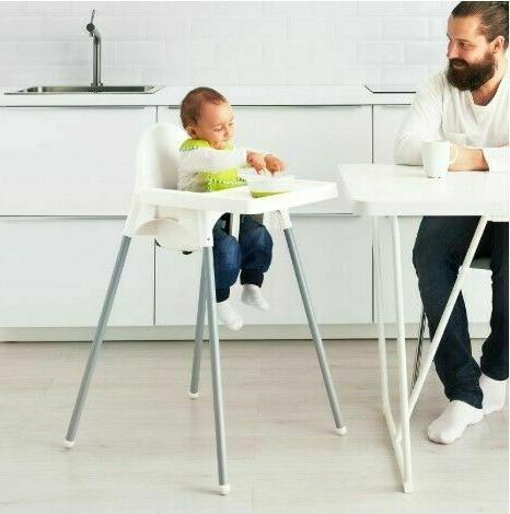 antilop high chair with tray silver color