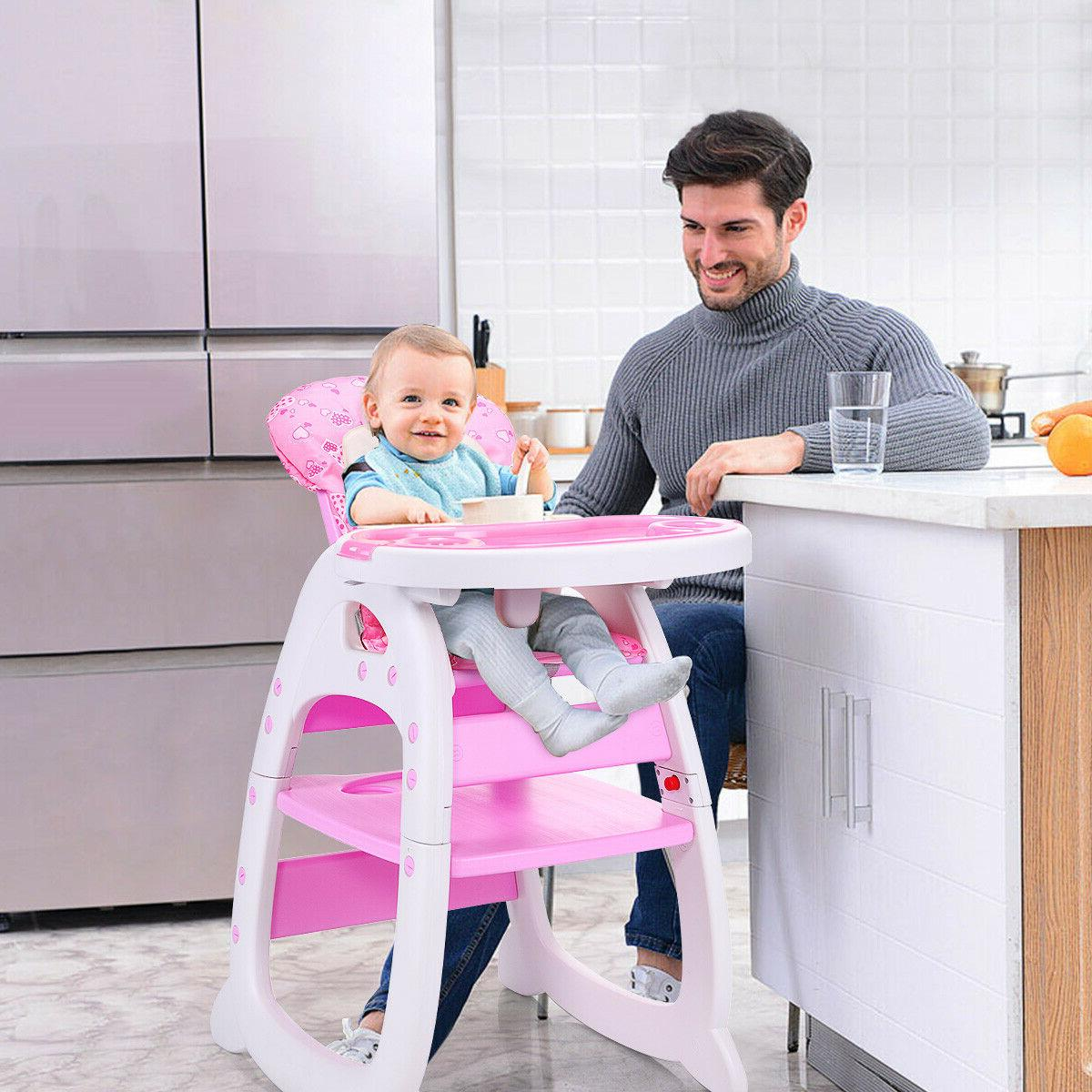 3 In 1 Baby High Chair Table Convertible Play Seat Booster T
