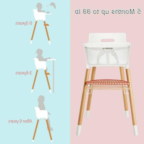 Baby High Chair Wooden Highchair Booster Toddler Feeding Tra