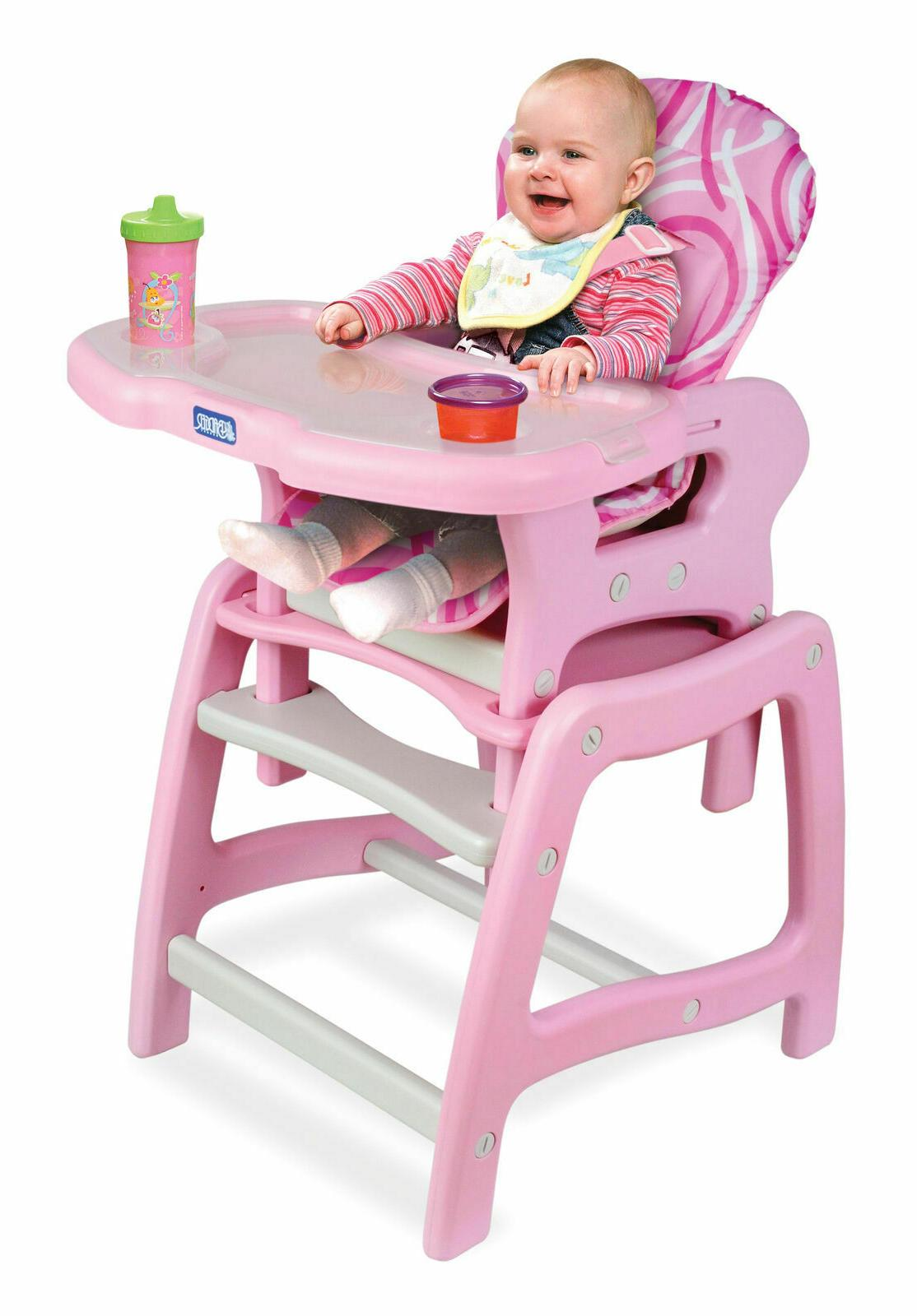 Convertible High Feeding Toddler Infant Pink