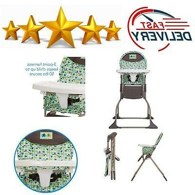 Foldable High Chair With 3 Position Tray Elephant Squares Wi