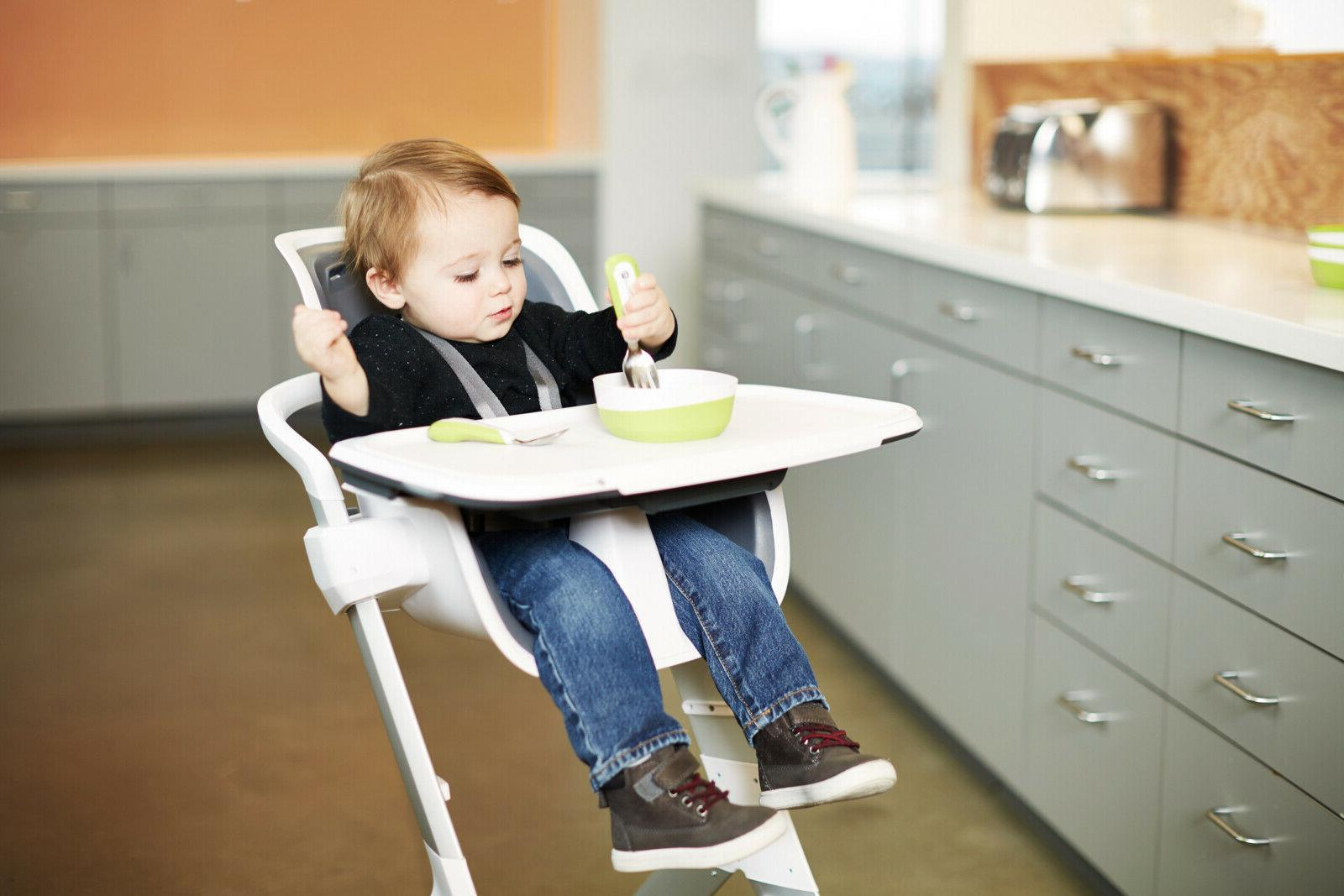 high chair with magnetic tray white grey