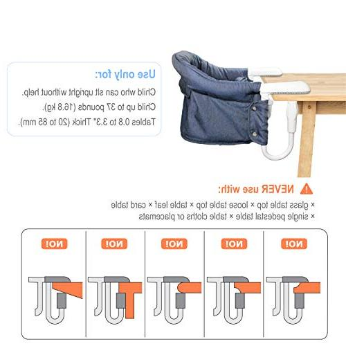 Hook On and High Fold-Flat Storage and Fixing Clip High Chair, Machine-Washable Avoid Seat Cushion, Fast Table Chair
