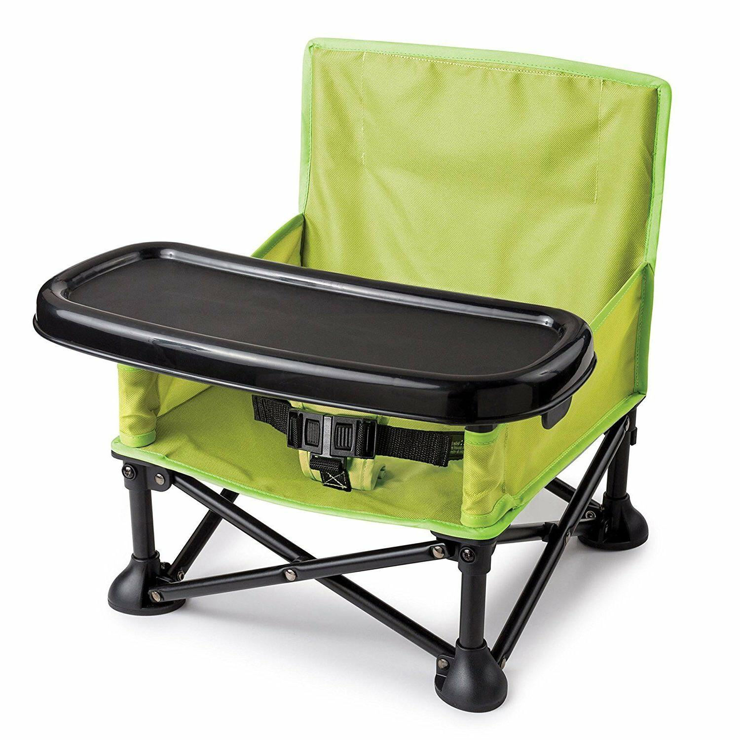 Portable Folding Booster Seat Hook on Pop Sit Green High Cha