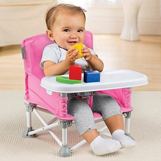 Portable Booster Hook on Pink Chair Baby