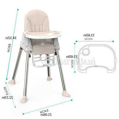 Kids Feeding Chair Tables Height-adjust Max Load 75kg