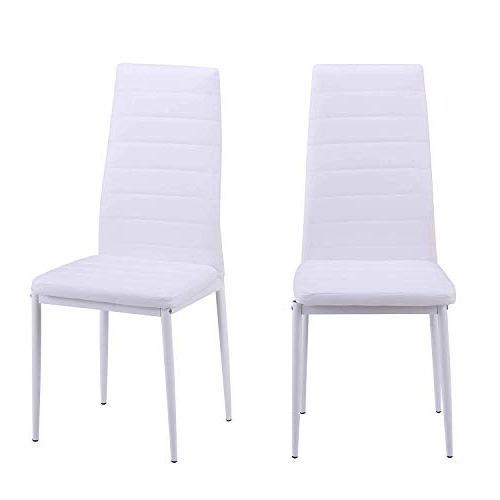 Merax Chair Set of 4, Kitchen Cushion High Back Support, PU Chairs Kitchen, Dining, Bedroom, Room Side Chairs