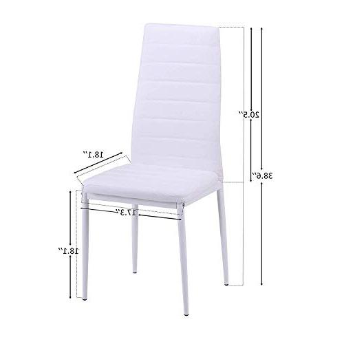 Merax Dining of 4, Chairs Cushion High Back PU Leather Room Side