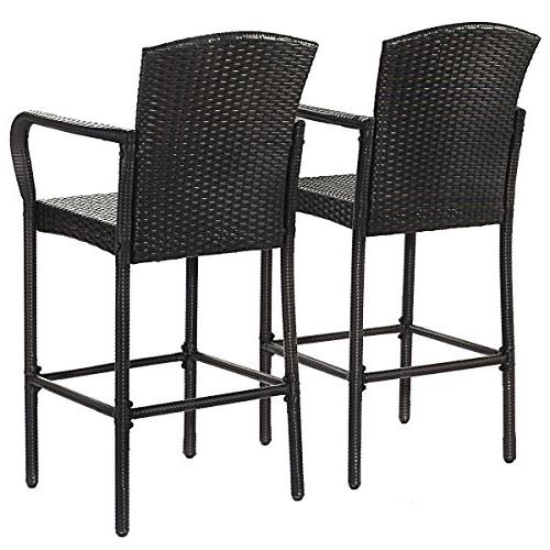 COSTWAY 2 PCS Outdoor Wicker Rattan Stool High Portable Only by eight24hours