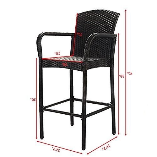 COSTWAY 2 PCS Patio Wicker Bar Outdoor Portable Only by eight24hours