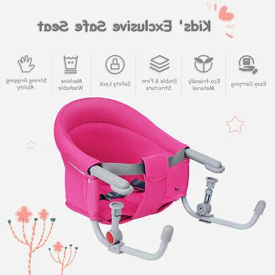 Portable Folding Hook On Clip Chair Booster Fast Table Seat Pink