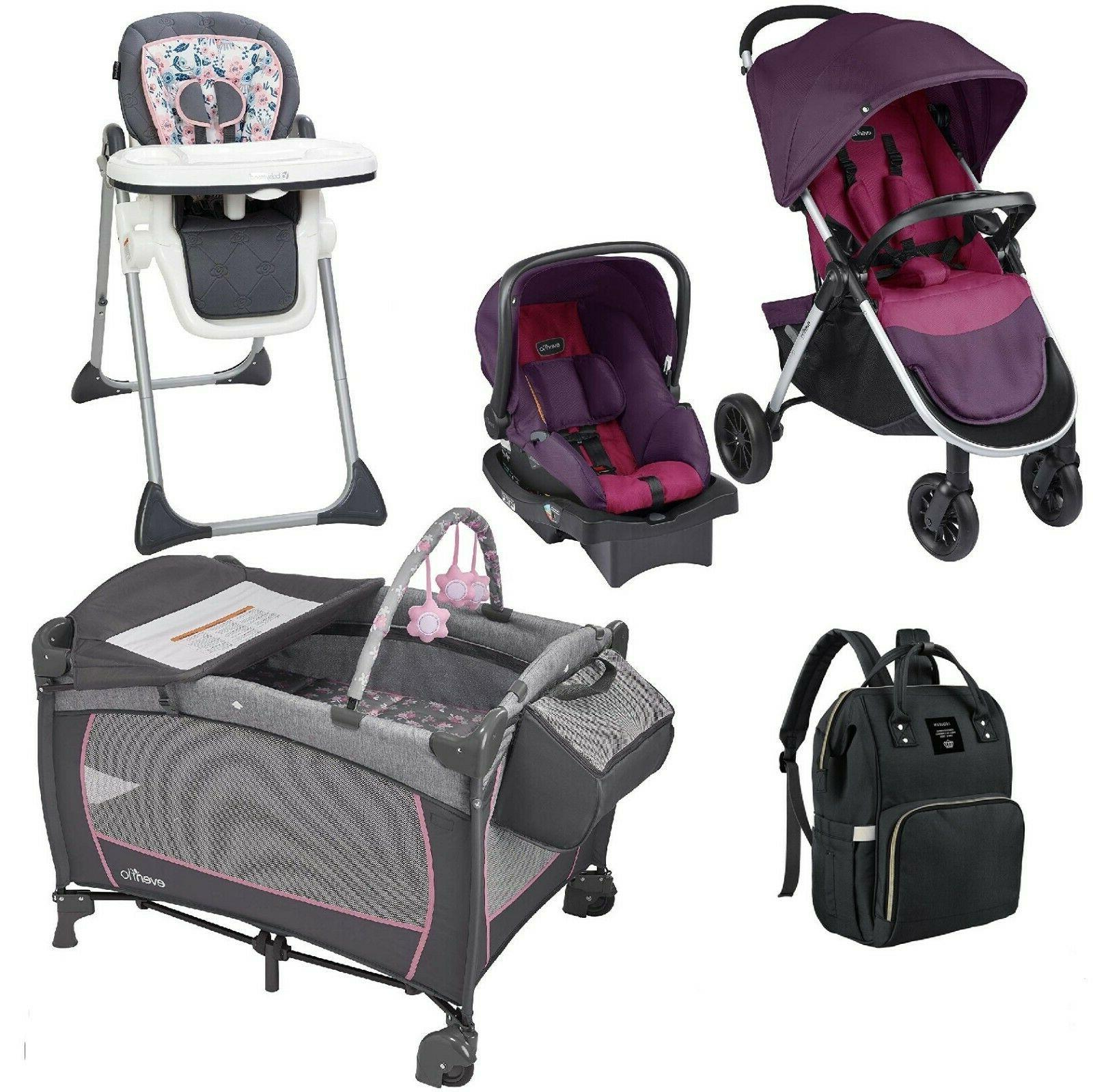 Portable Playard Stroller with Car Seat 3 in 1 High Chair Di