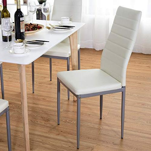 Giantex Set PU Side Chairs with Padded Foot Frame Duty Ergonomically High for Home
