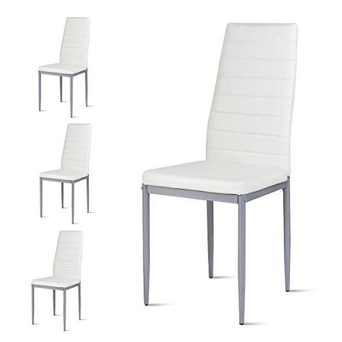 Giantex Set of PU Dining Chairs with Foot Stable Ergonomically High for Kitchen Dining Home Furniture,