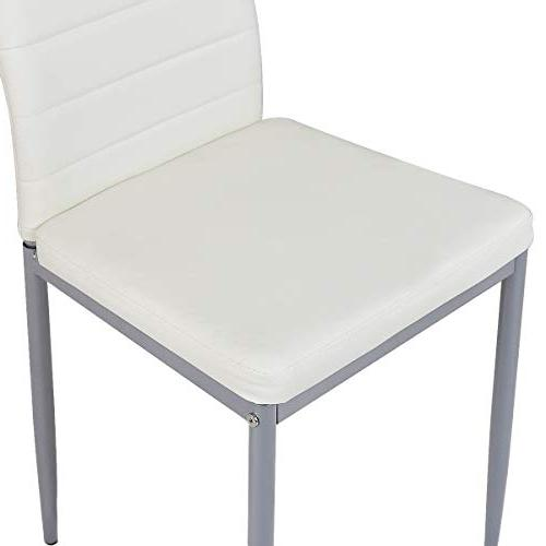 Giantex PU Dining Side Chairs with Foot Protection Frame Heavy Duty Ergonomically High for Kitchen Dining Home Furniture, White