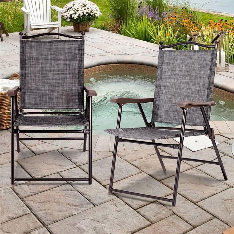 set of 2 patio folding sling back