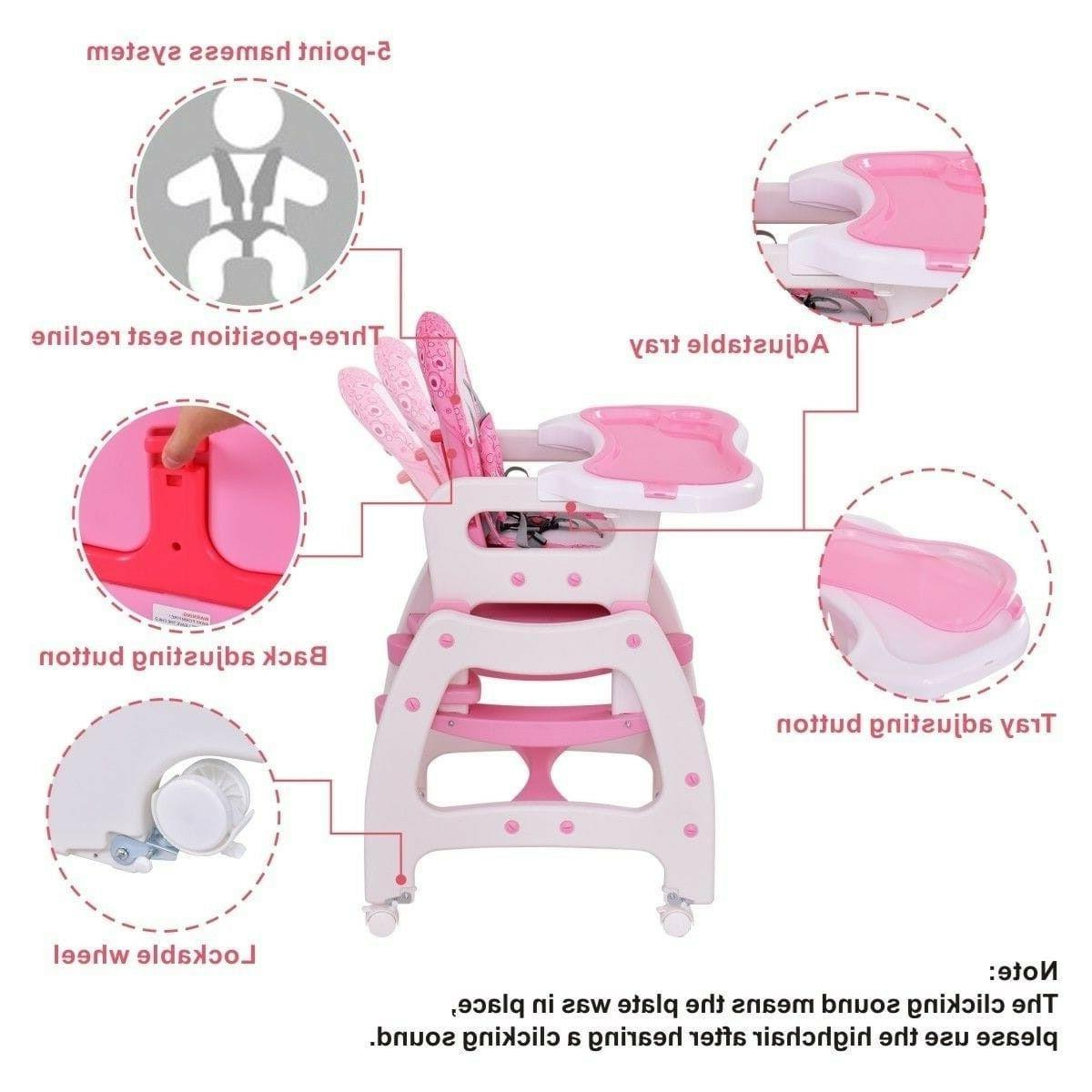 Silla De Kids High For Table Pink