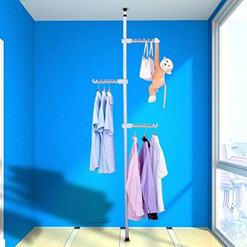 Asunflower Coat 3-Tier Adjustable Drying Hanger,Free Standing Garment Hanger for Laundry