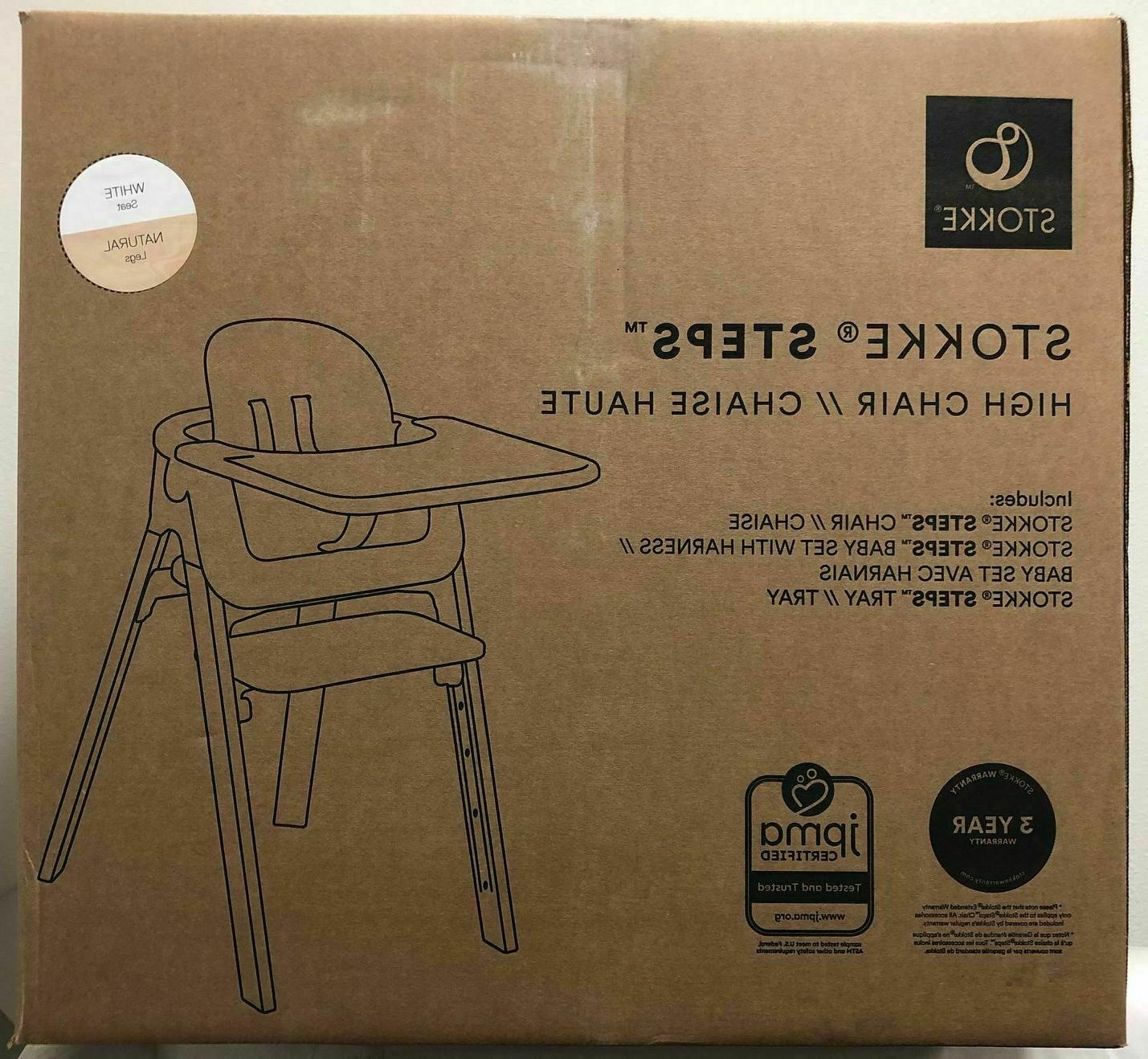 steps complete baby high chair with white