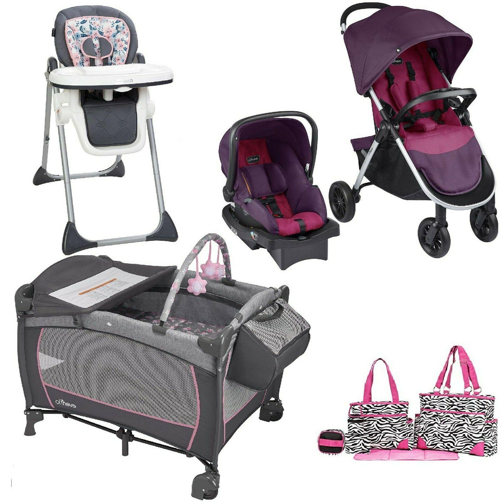 Toddler Combo Set Playard Diaper Bag High Chair Stroller Car