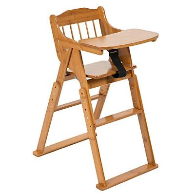 ELENKER Wood Baby High Chair with Tray. 3 Gear Adjustable He