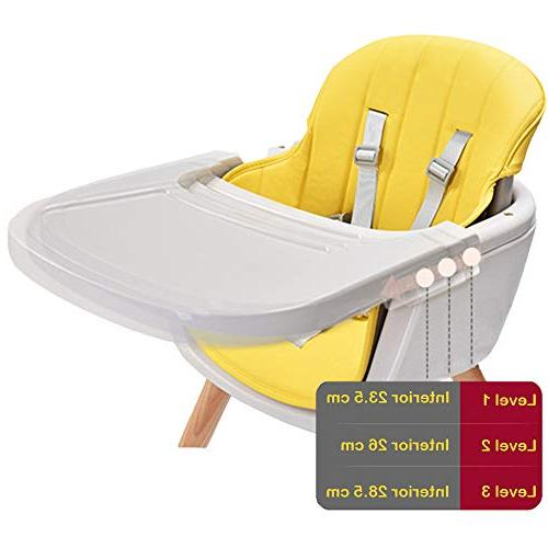 Asunflower Wooden High Chair 3 Convertible Modern with Cushion, Adjustable Feeding Chair for Toddler/Infant/Baby