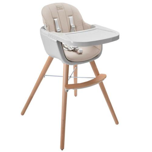 Wooden Feeding High Chair 3in1 Convertible&Cushion Simple sw