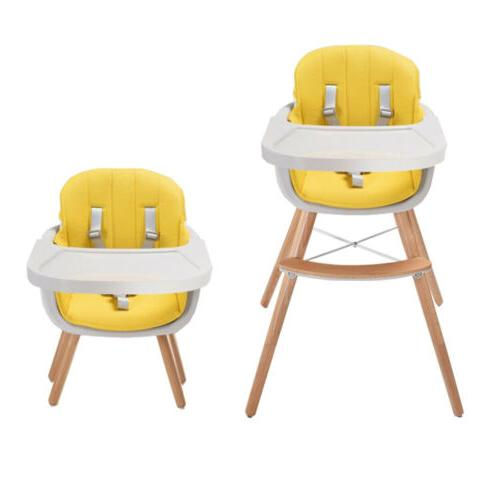 Infant Wooden HighChair 3in1 Convertible with Cushion Adjust