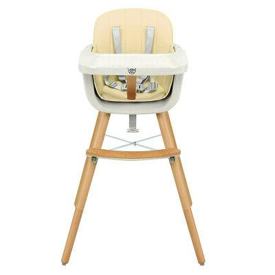 Wooden High Chair Baby 3 in 1 Convertible White