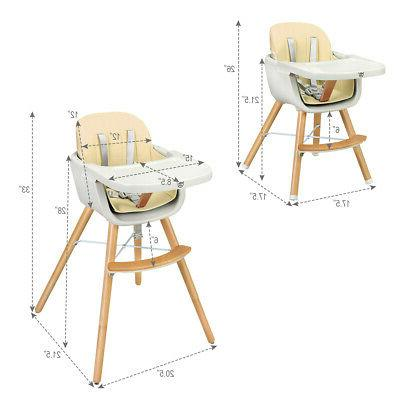 Wooden Toddler High Baby Convertible Highchair White