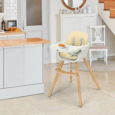Wooden High Baby Convertible Highchair with White