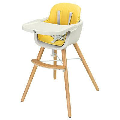 Wooden Toddler High Chair Baby 3 in 1 Convertible Highchair